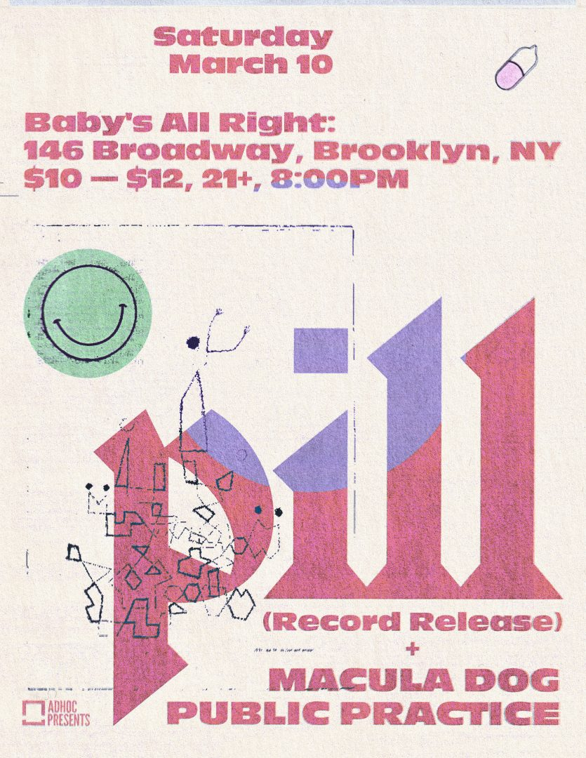 Pill record release show at Baby's All Right on March 10th 2018